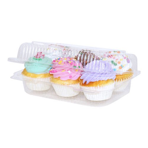 6 compartment Clear Cupcake Muffin Containers with Hinged Lid 12