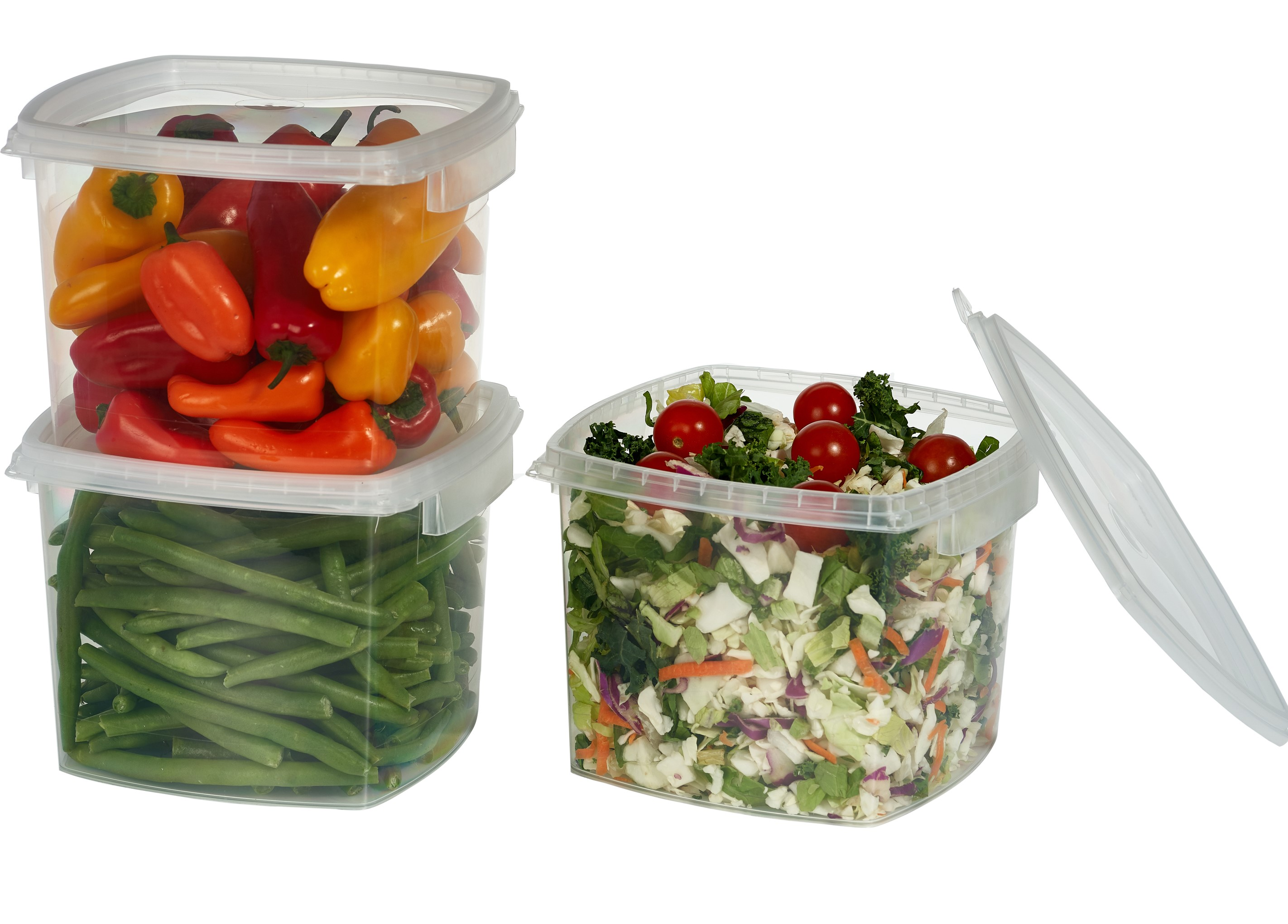 Decony Deli Food Storage Containers With Lids Temper Evident Leak Proof  Ultra Clear Square Space Saver And Stackable Shape Microwavable And  Freezable And ...